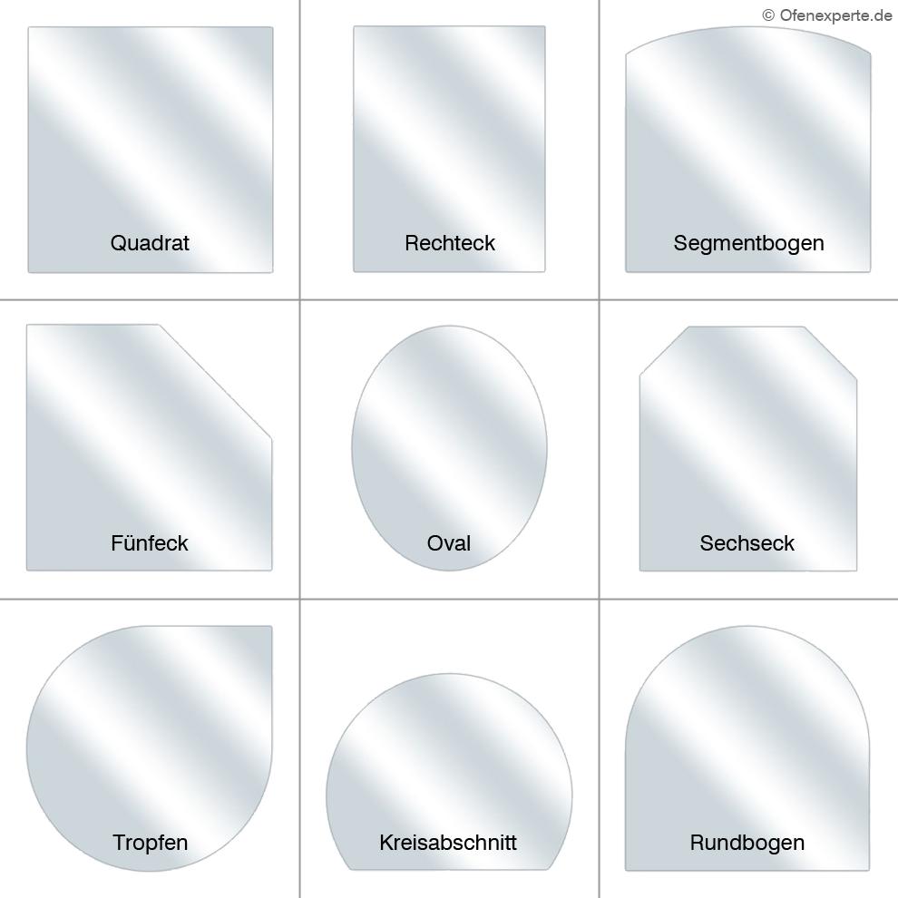 Gängige Formen für Funkenschutzplatten aus Glas
